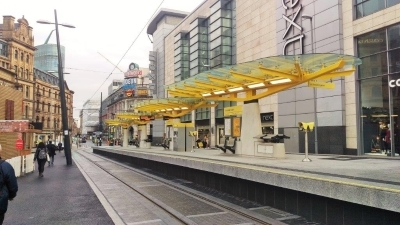 Romag glass catches the eye at new Manchester tram stop